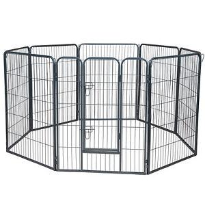Dog-Pet-Playpen-Heavy-Duty-Metal-Exercise-Fence-Hammigrid-8-Panel-40-034