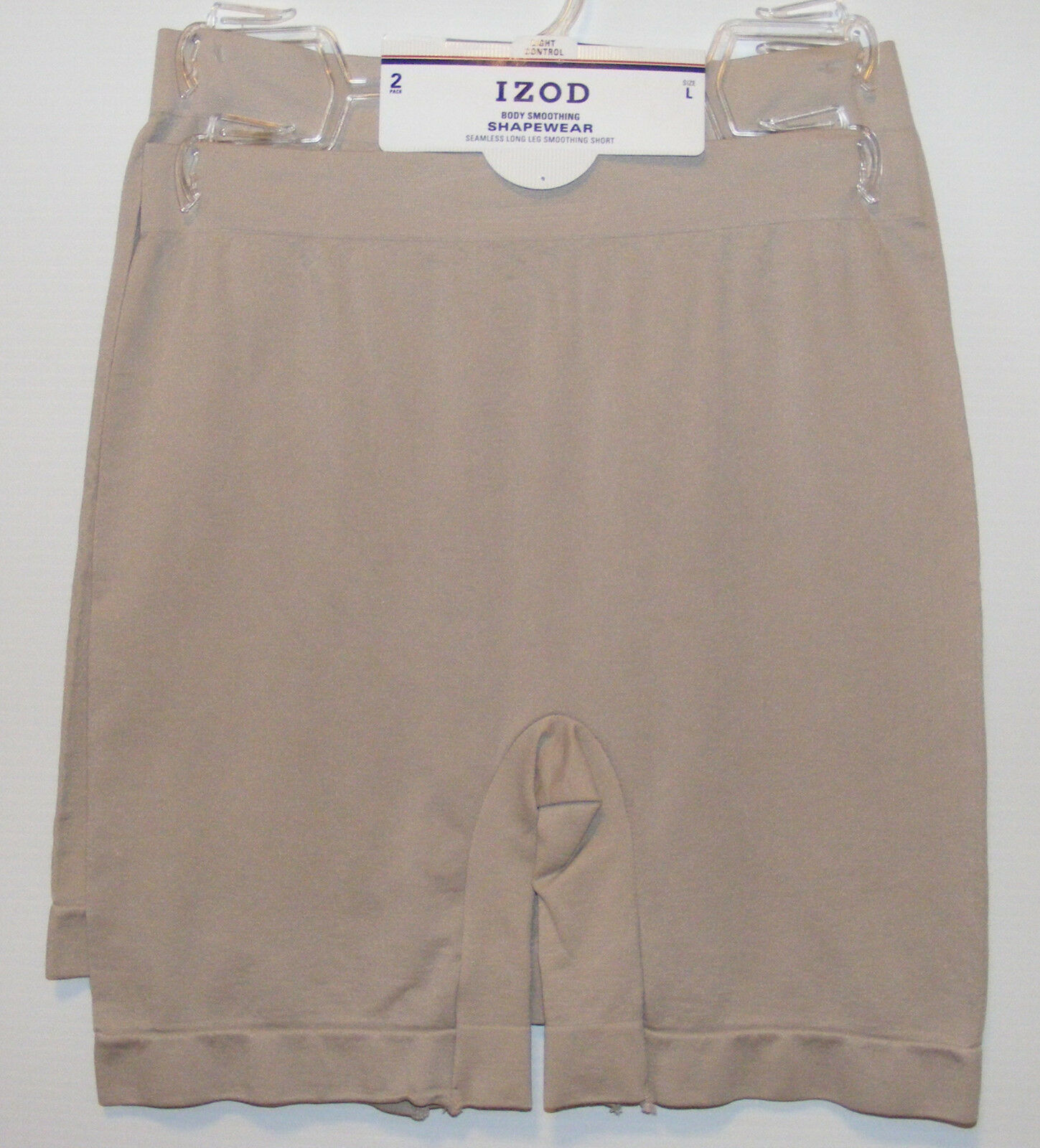 80bed536d2 Izod 2 Pack Shorts Seamless Shapewear Smoothing Long Leg Light Control Nude
