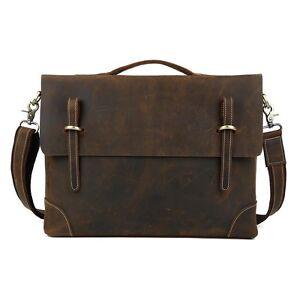 Sac-Ordinateur-Bandouliere-homme-Cuir-Cartable-Mallette-Messenger-Bag-Vintage