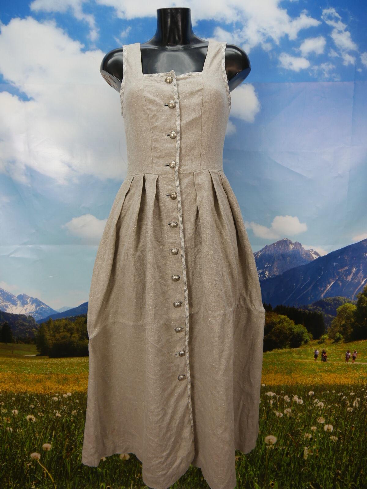 Leinen Dirndl schlichtes Leinenkleid in grau Trachtenkleid Landhauskleid Gr.36