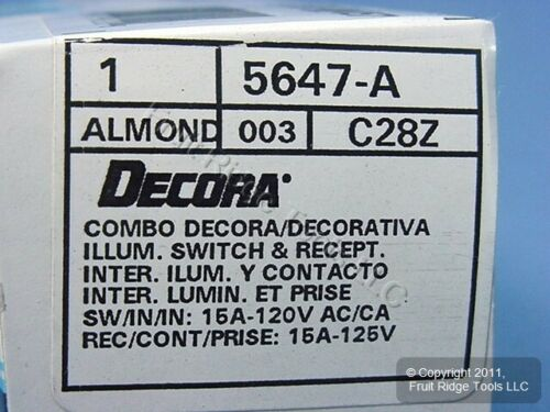 Leviton Almond Decora LIGHTED Rocker Wall Switch /& Receptacle Outlet 15A 5647-A