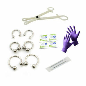 12g-Piercing-Kit-14-pcs-Disposable-Forceps-Gloves-Alcohol-Pads-Needles-jewelry