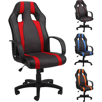 Office Chair Racing Gaming Desk Chairs Adjustable Swivel PU High Back