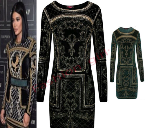 Womens Ladeis Long Sleeve Beaded Glitter Embellished  Valvet Bodycon Party Dress