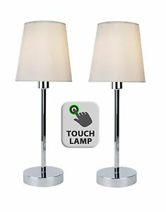 Pair of modern silver chrome touch lamps bedside lights with ivory image is loading pair of modern silver chrome touch lamps bedside aloadofball Image collections