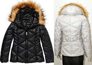 ee94693a060f Guess winter QUILTED PUFFY JACKET FAUX FUR HOODED coat Puffer Black ...