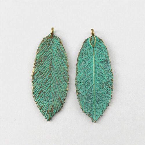 29x Green Bronze Alloy Chic Leaf Shaped Pendants Findings Charms Crafts 51652