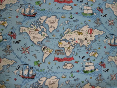 Sanderson curtain fabric design treasure map 17 metres sea blue sanderson curtain fabric design quottreasure mapquot gumiabroncs Gallery
