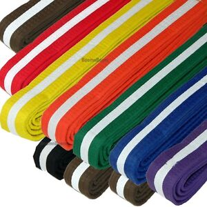 New Taekwondo Belt Karate Judo Jiu jitsu Martial Arts Color Belt w/ WHITE Stripe