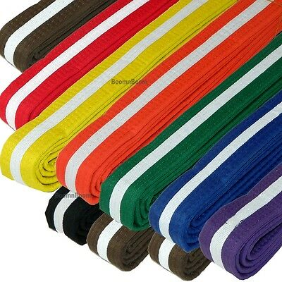 New Taekwondo Belt Karate Judo Jiu jitsu Martial Arts Color Belt w// WHITE Stripe