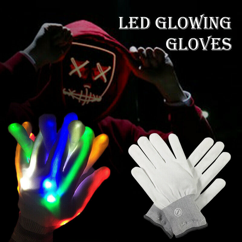 1 Pair Halloween LED Gloves Luminous Gloves Adults Cosplay Props Party Costume S