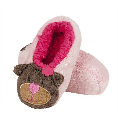Girls Plush Cosy Fleece Teddy Bear Ballerina Slippers In 2 Colours & 3 UK Sizes