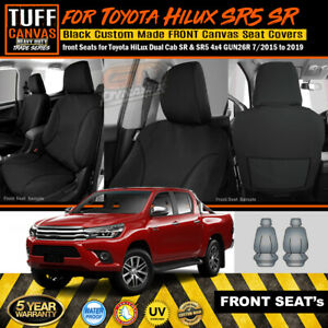 BLACK DUCK Canvas Front Bucket Seat Covers for Toyota Hilux 05//05-06//11 WORKMATE