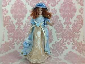 Dollhouse-Miniature-Porcelain-Victorian-Lady-Poseable-Ceramic-Doll1-12-w-Stand