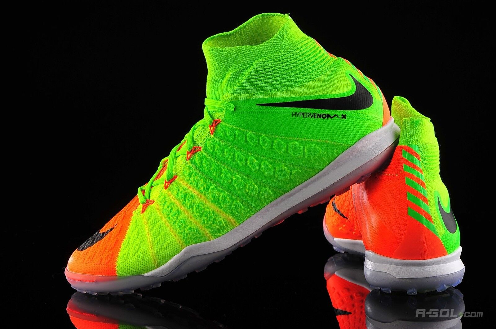 9fdd1818ea Nike II DF TF 10 Euro 45 Electric Green Hyper orange UK HypervenomX ...