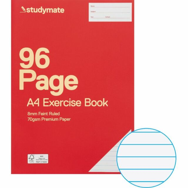 Studymate A4 70gsm 8mm Ruled Exercise Book 96 Page