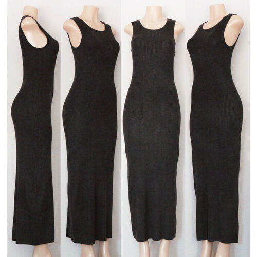 NEW Black or Grey Wool Blend Soft Ribbed Knit Sleeveless Long Maxi Sweater Dress