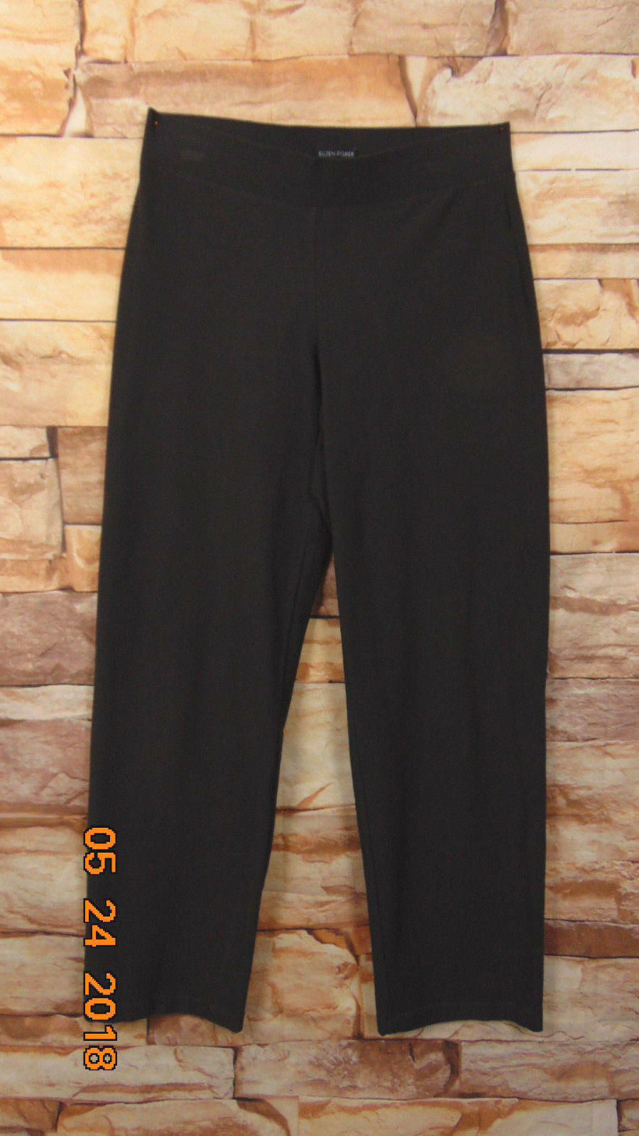 EILEEN FISHER  BROWN VISCOSE NYLON KNIT PULL-ON STRAIGHT PANTS SIZE S
