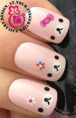NAIL ART WRAPS WATER TRANSFERS STICKERS DECALS DECORATION TEDDY BOWS FLOWER #218