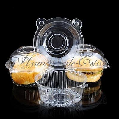100 Clear Plastic Single Cupcake Cake Case Muffin Pod Dome Holder Box Container