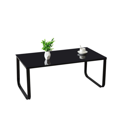 Black Rainbow Coffee Table Tempered Glass Top Side Table Modern Glossy Room NEW
