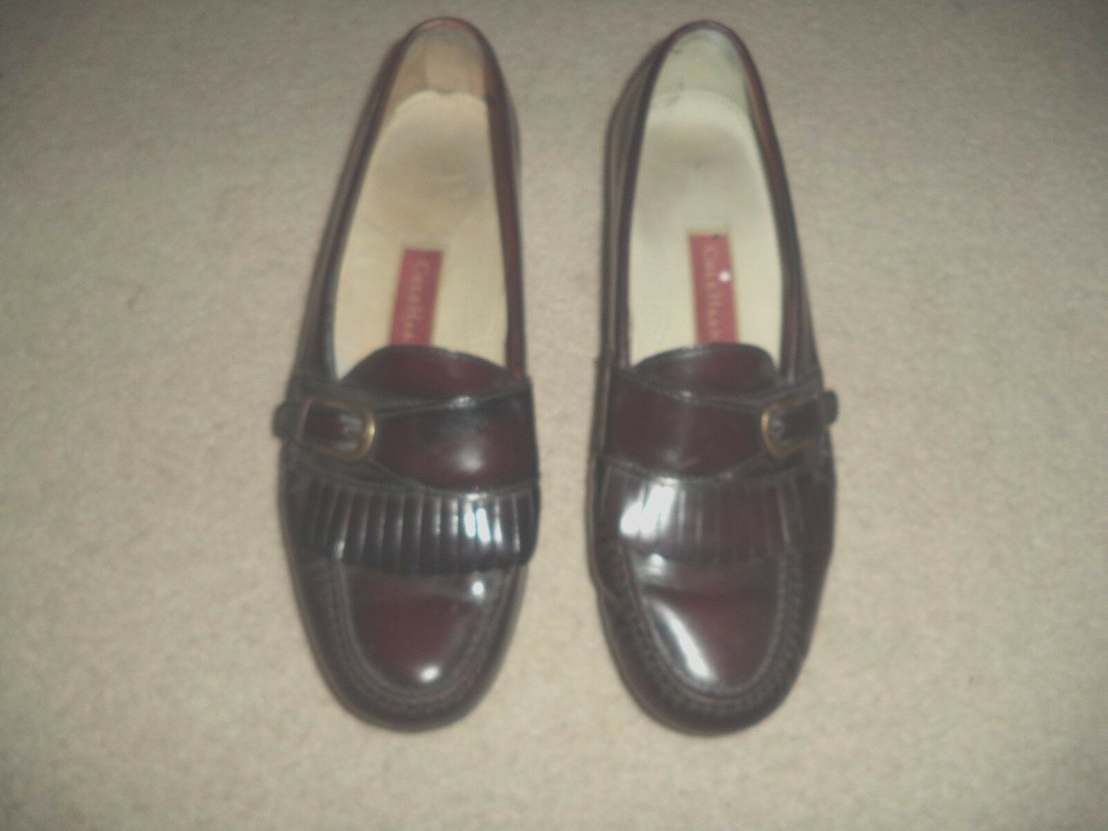 COLE HAAN Dress Burgundy Leather Slip On Loafer Style Tassle Dress HAAN Shoes Sz 10/10.5 1e547e