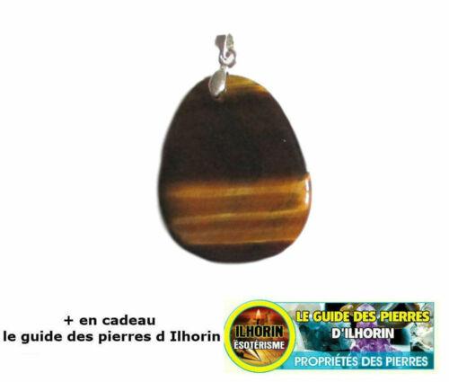 Pendentif Pierre Plate Oeil de Tigre avec le guide des pierres d Ilhorin