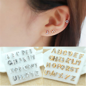 e4567198d Image is loading 26PCS-Silver-Gold-Unisex-Initial-Alphabet-Earrings-Letter-