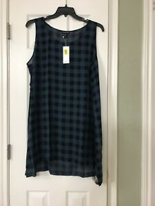 5eb97ed7d4230 1X NEW EILEEN FISHER FIR BUFFALO CHECK PRINTED SILK SCOOP NECK TUNIC ...
