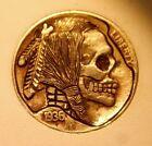 Coalburn classic Hobo Nickel carved Love Token skull  jewelry buffalo 1913-1938