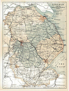 A Large Map Of The County Of Lincoln England 1882 Ebay