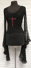Raven Gothic Red Cross Mesh Top With Morticia Sleeves 10/12