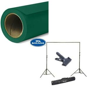 """Savage Widetone Seamless Background Paper 86"""" x 36' Evergreen, #18 W/10' Support"""