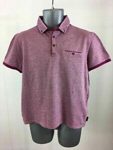 Men-039-s-Ted-Baker-Burgundy-Cotton-Short-Sleeve-Polo-Shirt-Size-4