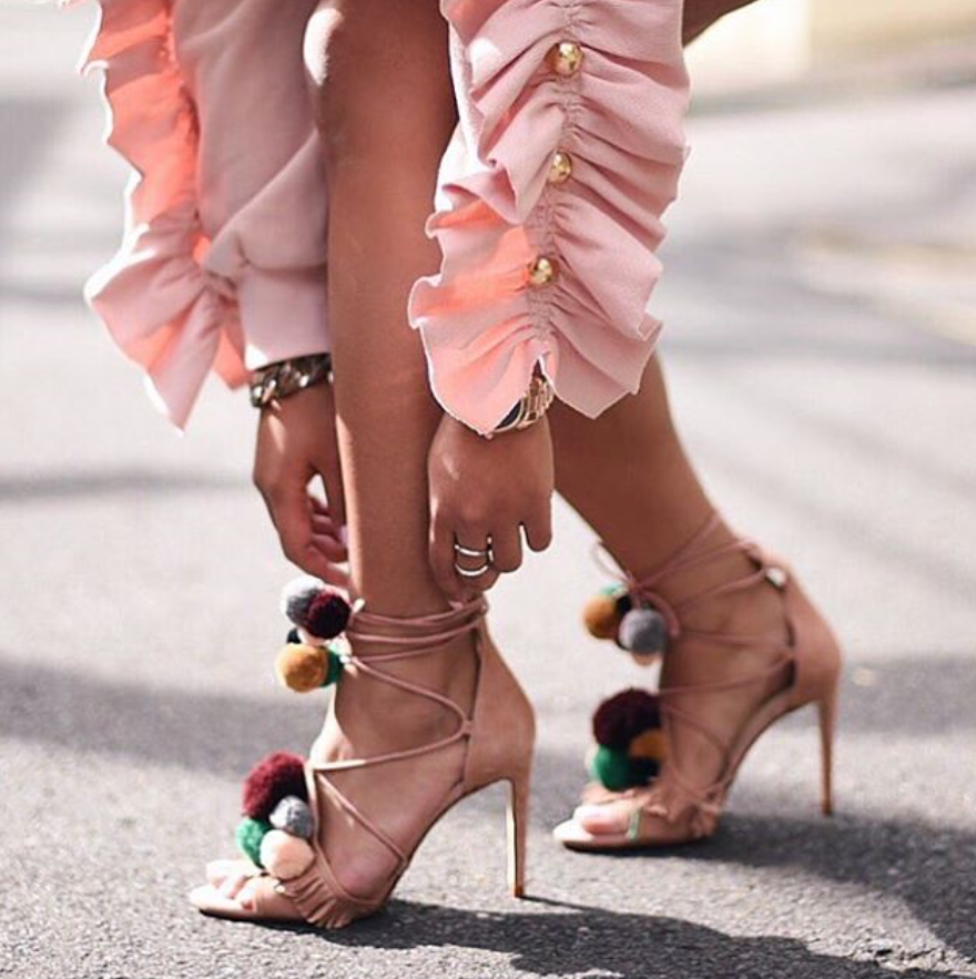 BNIB BNWT SANDALS ZARA LEATHER HIGH HEEL SANDALS BNWT MULTI COLOUR POMPOMS  UK 2 EU 35 ab95a1