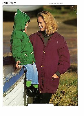 hooded duffle coat chunky knitting pattern 99p