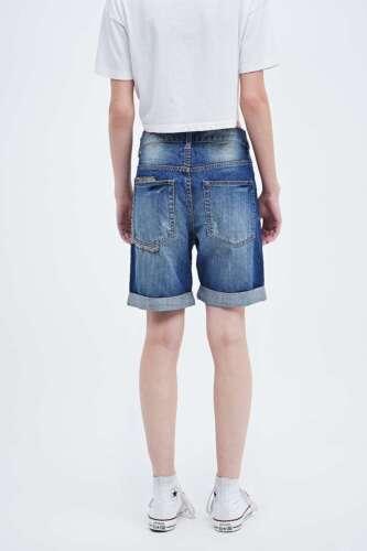 Native Rose Sequin Boyfriend Shorts-Denim-Large-rrp £ 58-NEUF