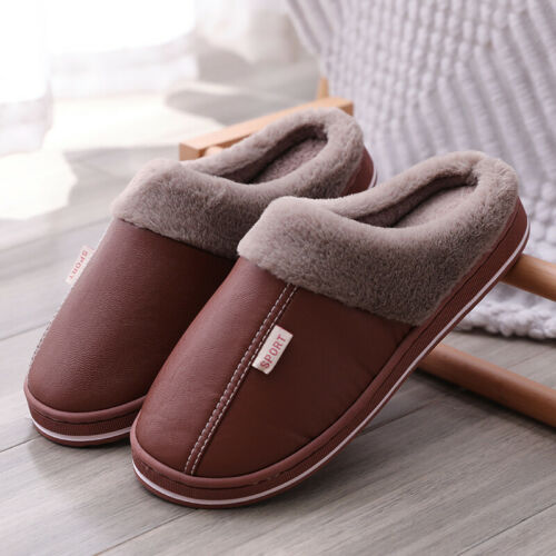 Details about  /Womens Men Slippers Plush Lined Soft Warm Home Anti-Skid Shoes AU Size 4.5-9.5