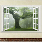 Old Green Trees 3D Window View Wall Art Sticker Vinyl Mural Decal DIY Home Decor