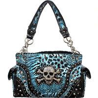 Concealed Handgun Carrying Western Handbag W/rhinestone Skull And Crossbones