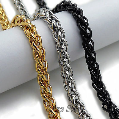 """MENS 6MM Gold/Black/Silver 16""""~36"""" Stainless Steel Wheat Braided Chain Necklace"""