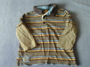 Baby Boys 12-18 Months - Brown, Blue & Yellow Striped Long Sleeve Top -TU