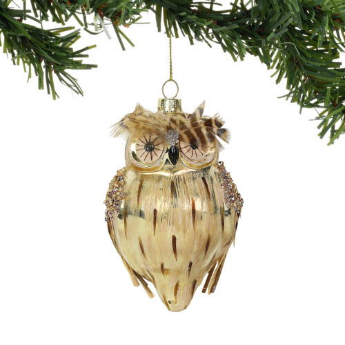 Department 56 H9 CLAXM Christmas Dazzle Glass Owl Ornament 5in 6004468