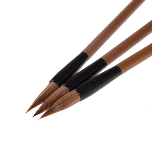 3pcs Chinese Japanese Water Ink Painting Writing Calligraphy Brush Pen Brown XS