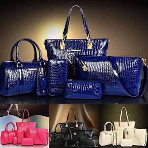 c4d11f62fe 6PCS set Women Handbag Noble Shoulder Bags Totes Messenger Bag Purse ...