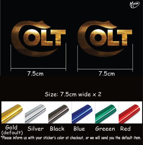 2x Colt Decal Stickers Metallic Chrome Effect 7.5cm wide die cut best giftsG