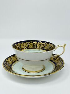 Paragon-Tea-Cup-And-Saucer-Rose-Navy-Gold-Plated-Fine-Bone-China-1950s-Vintage