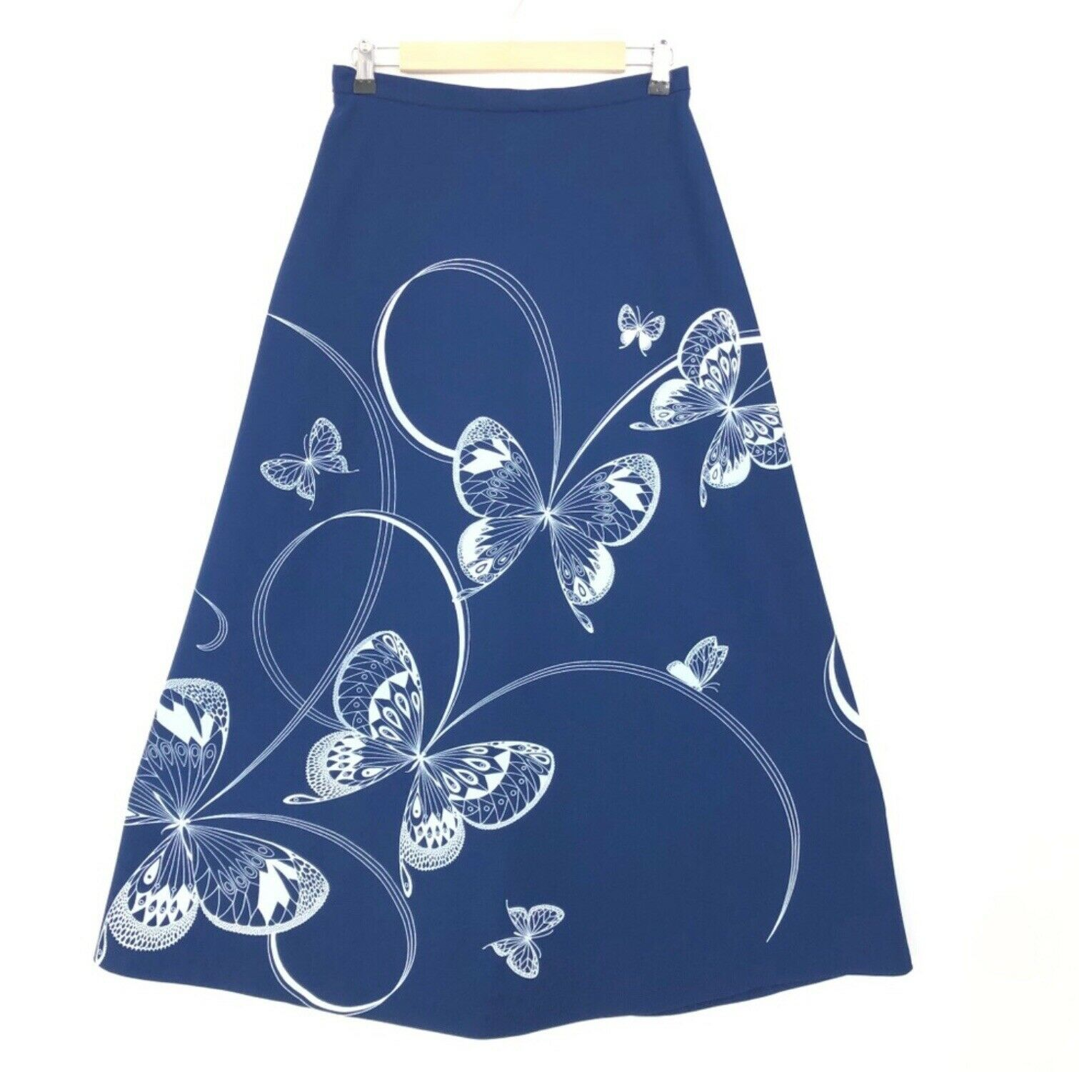 Miss Shaheen A Line Skirt Size 12 Vintage bluee With Butterflies
