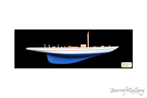 HANDCRAFTED WOODEN ENTERPRISE HALF HULL MODEL YACHT GREAT WALL DECOR 90CM
