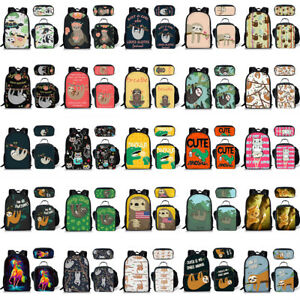f8bacc390a20 Details about Sloth Horse Cute Girls School Lunch Pen Bag Women Backpack  Laptop Rucksack 3pcs